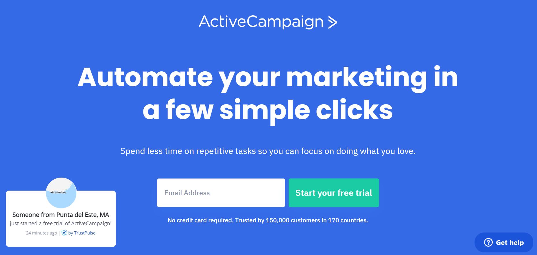 12 ejemplos de landing pages: ActiveCampaign