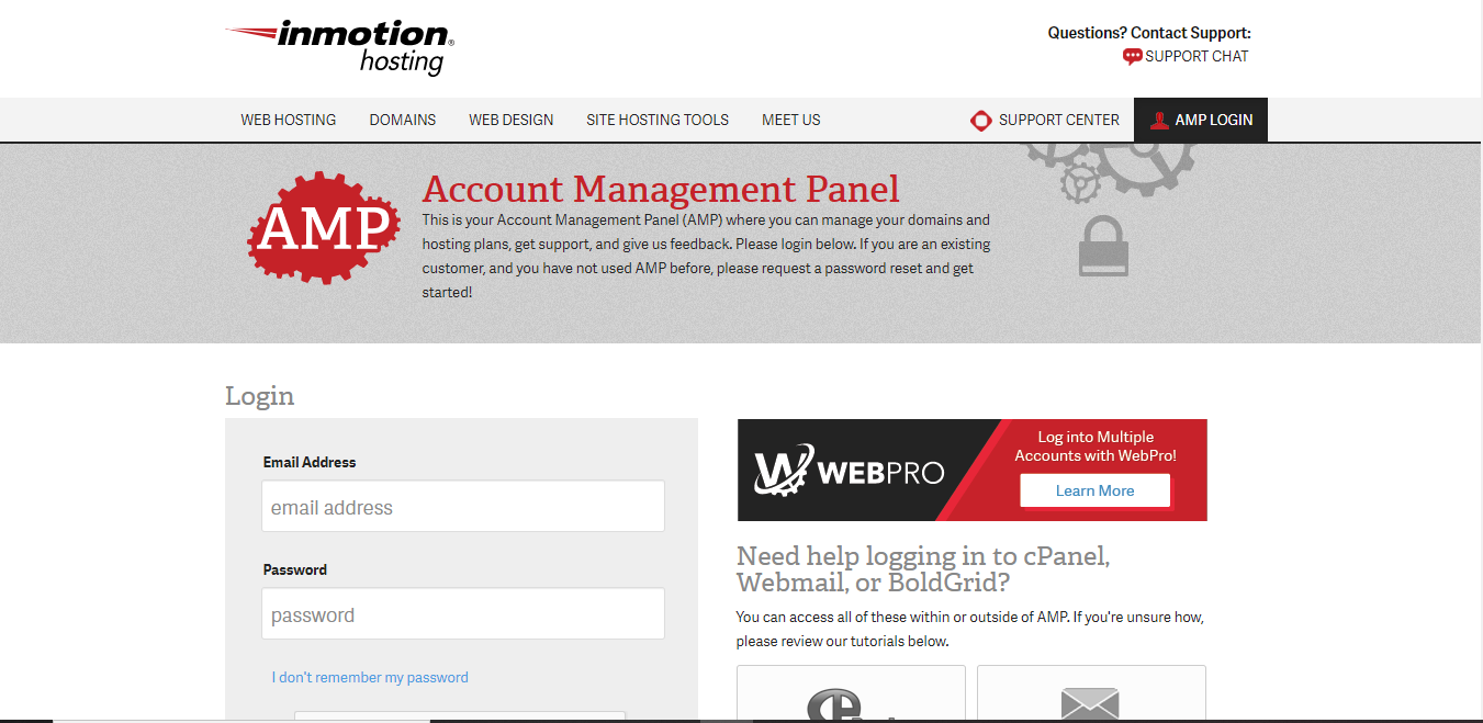 Account Management Panel login page