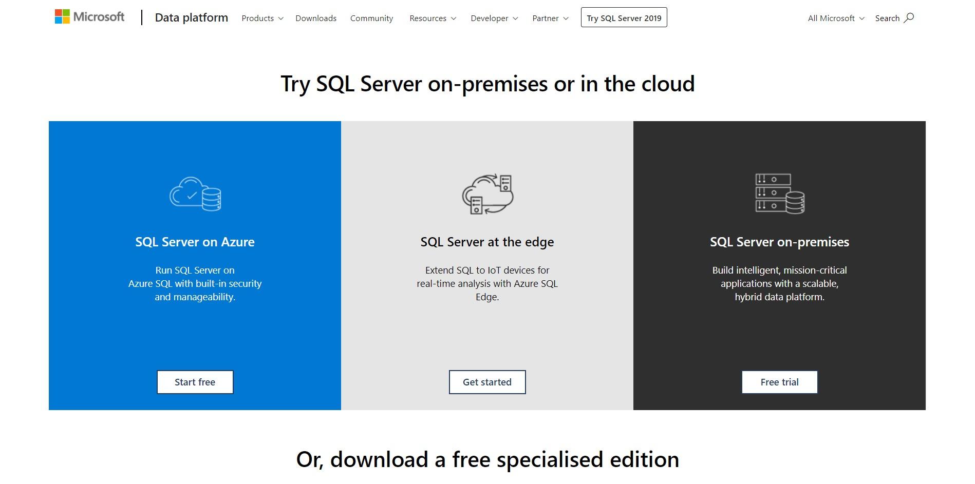 Microsoft SQL Server Main Page