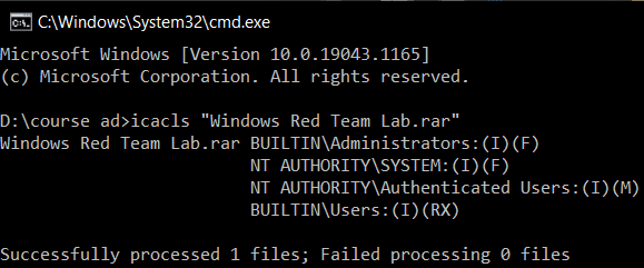 File permissions using cmd