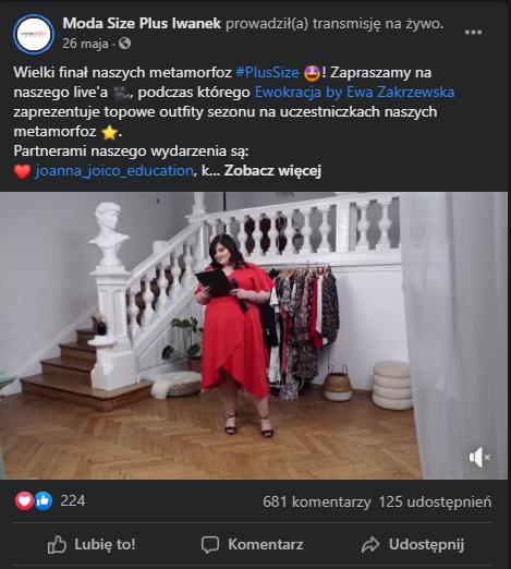 Przykład posta z wydarzeniem live