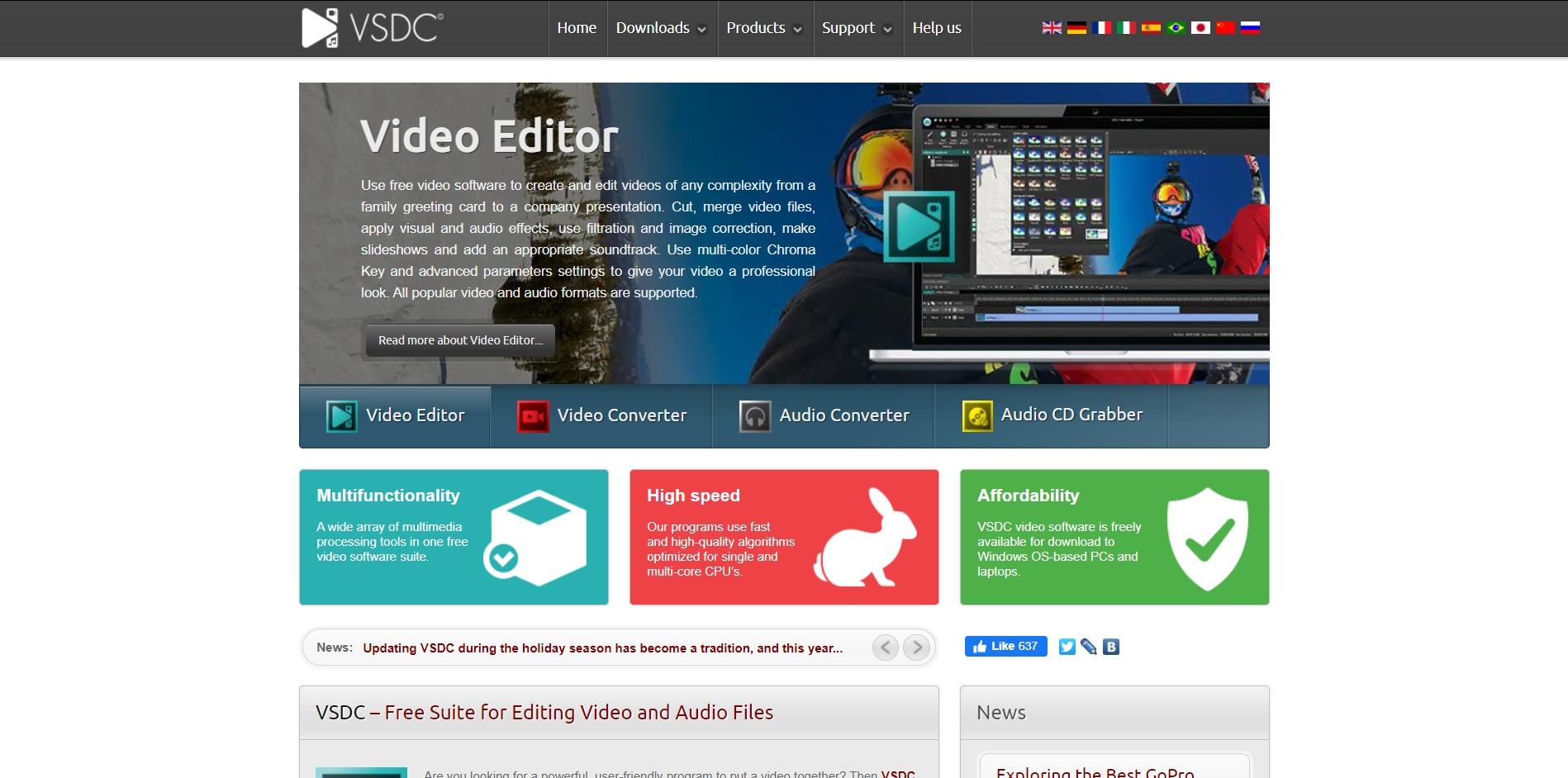 VSDC Free Video Editor - Main Page