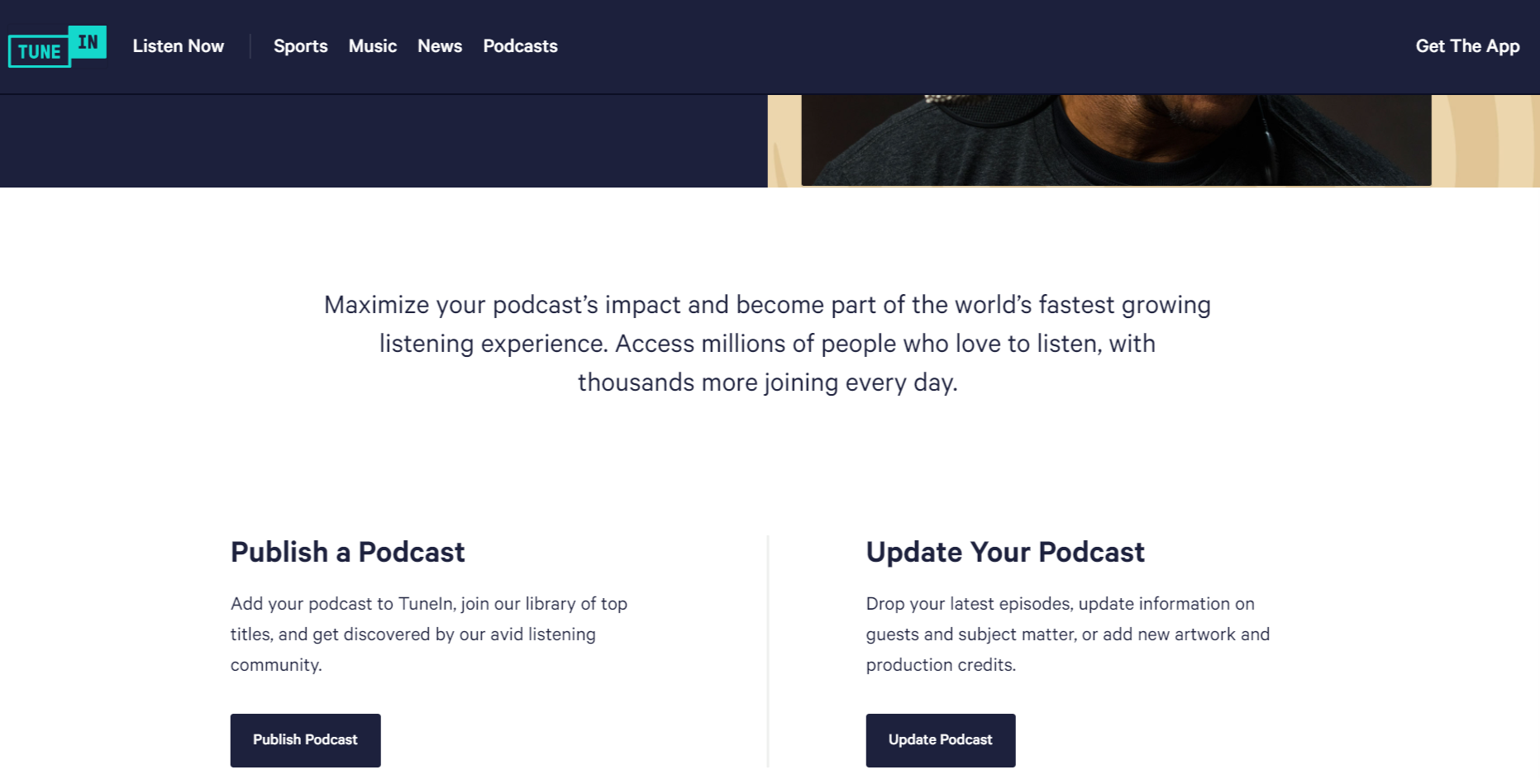 Podcasters page
