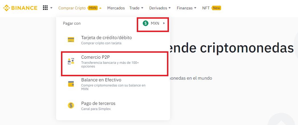 Buy crypto using MXN through Binance P2P.