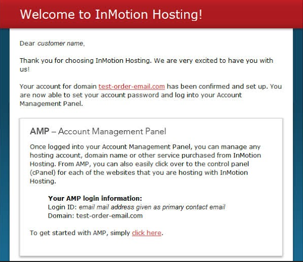 InMotion Hosting welcome email with instructions