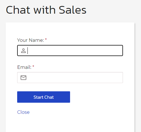 Chat with sales screen (support screen)