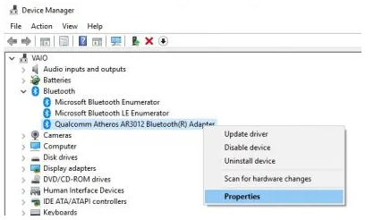 Bluetooth on device manager