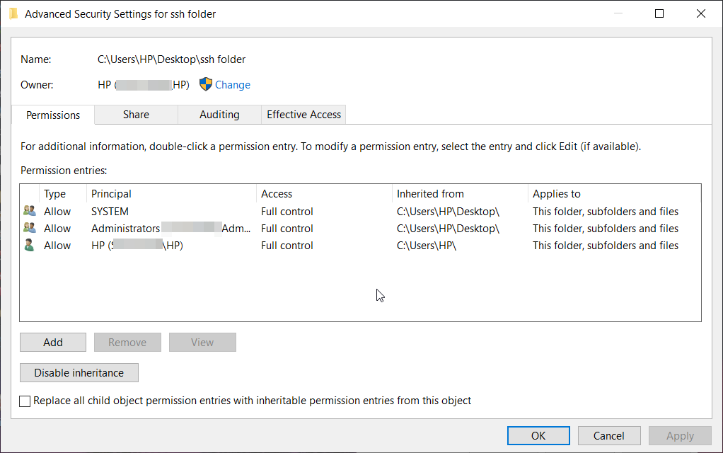 Advanced settings of files and folders