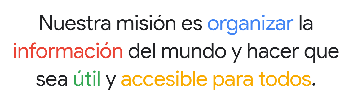 Ejemplo de misión y visión de Google