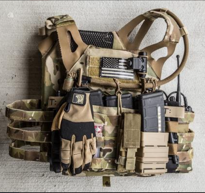 A plate carrier typically used by the US military