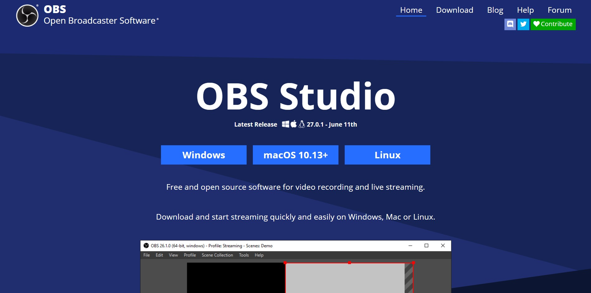 OBS Studio main page