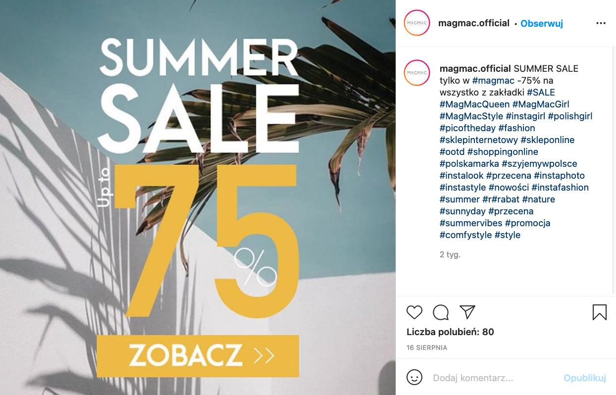 Post na Instagramie informujący o promocji - przykład pozytywny