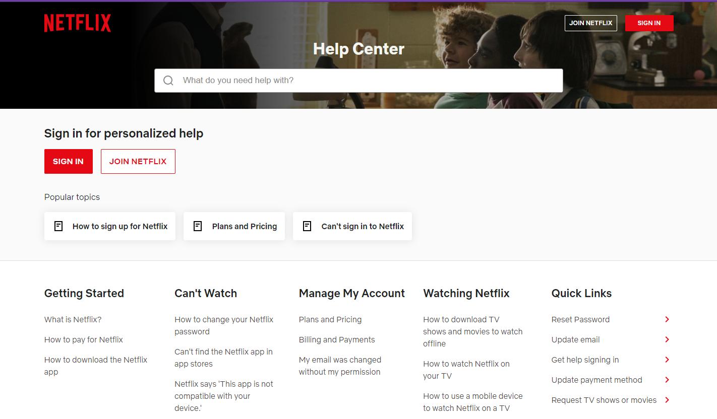 Netflix help center