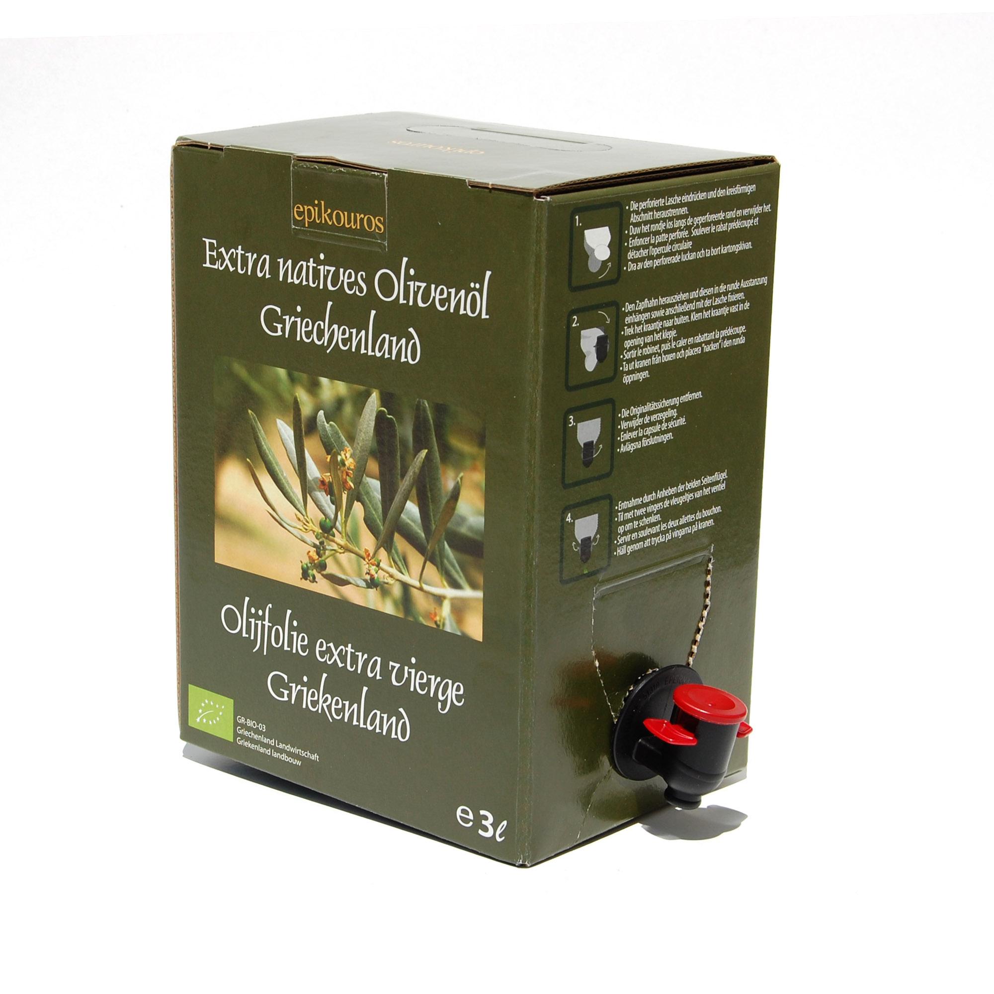 3 liter biodynamisk olivenolie bag in boks