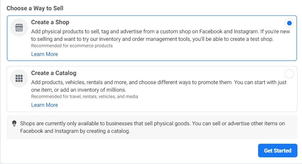 Create a Shop or Catalog