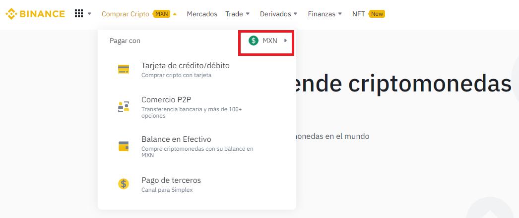 Buy cryptocurrencies with MXN on Binance!