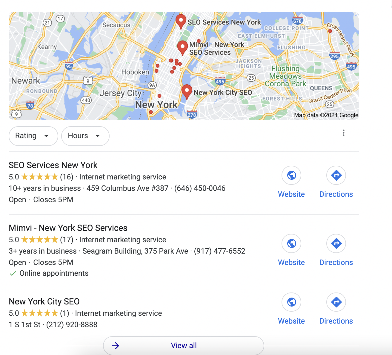 Map Pack result for seo new york