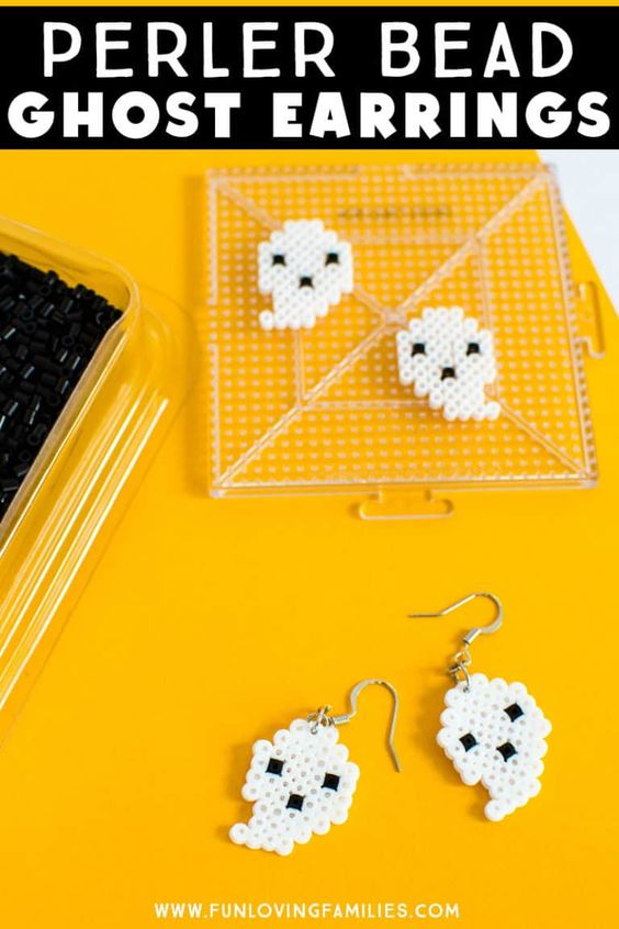 Spooky Ghost Earrings made in a perler bead craft