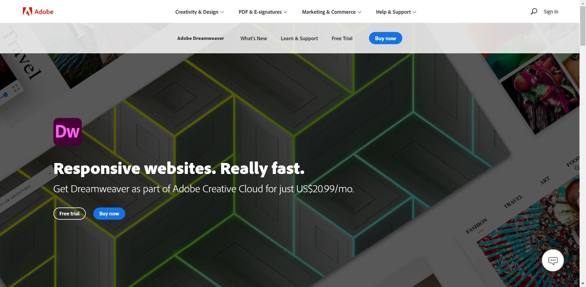 Adobe Dreamweaver home page