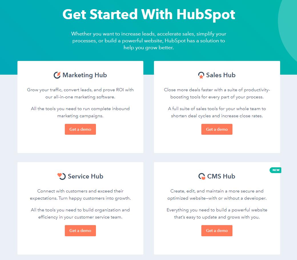 12 ejemplos de landing pages: HubSpot