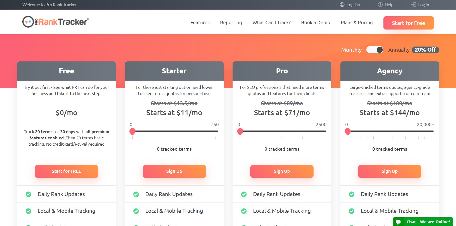 Pro Rank Tracker pricing