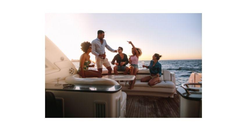 cooler boating party in ocean