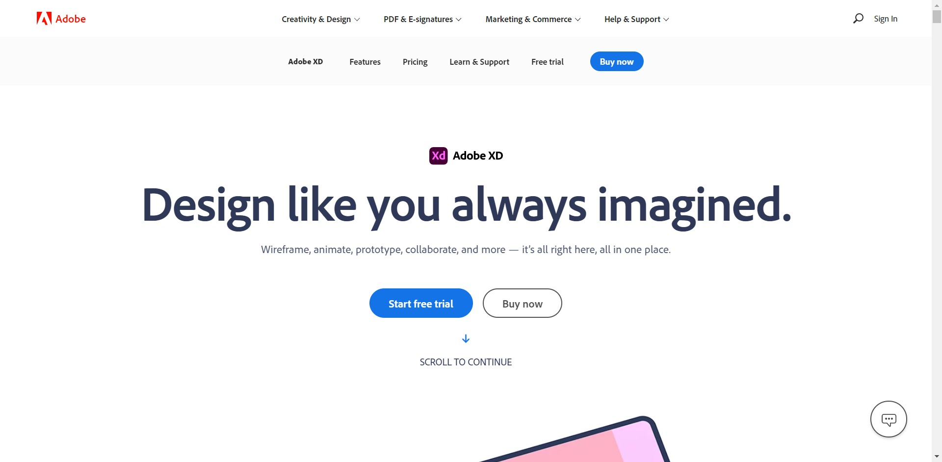 Adobe XD home page