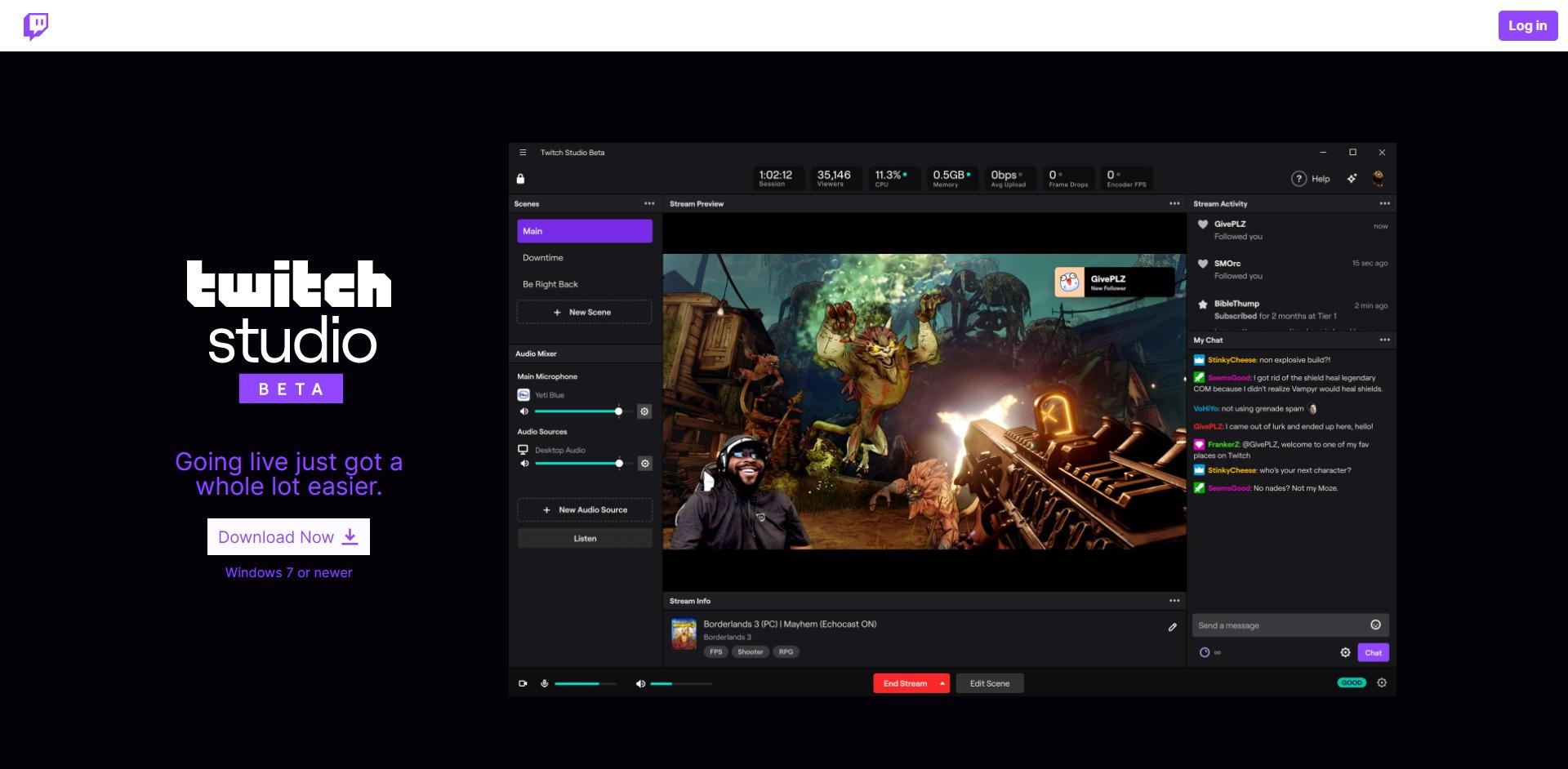 Twitch Studio main page