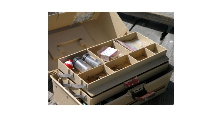 tackle boxes, fishing line, safety pins
