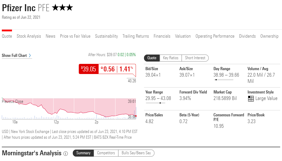 morningstar stock research
