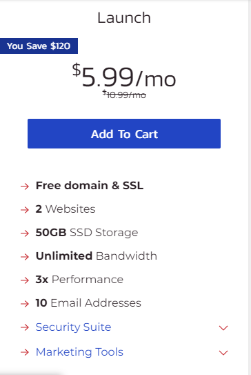 Shared hosting launch plan