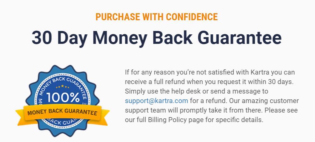 Kartra money-back guarantee