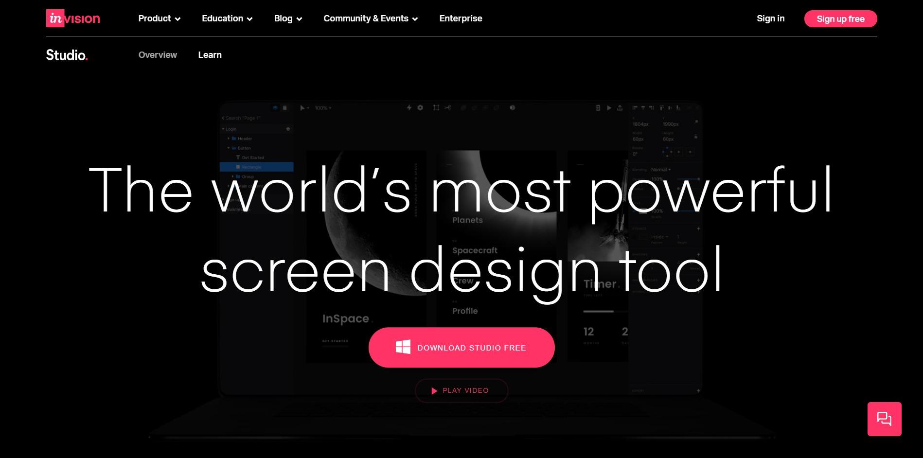 Invision Studio home page