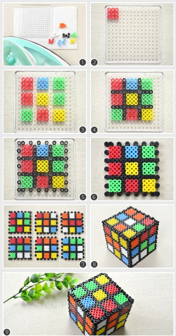 Rubic Cube 3D Craft perler bead ideas