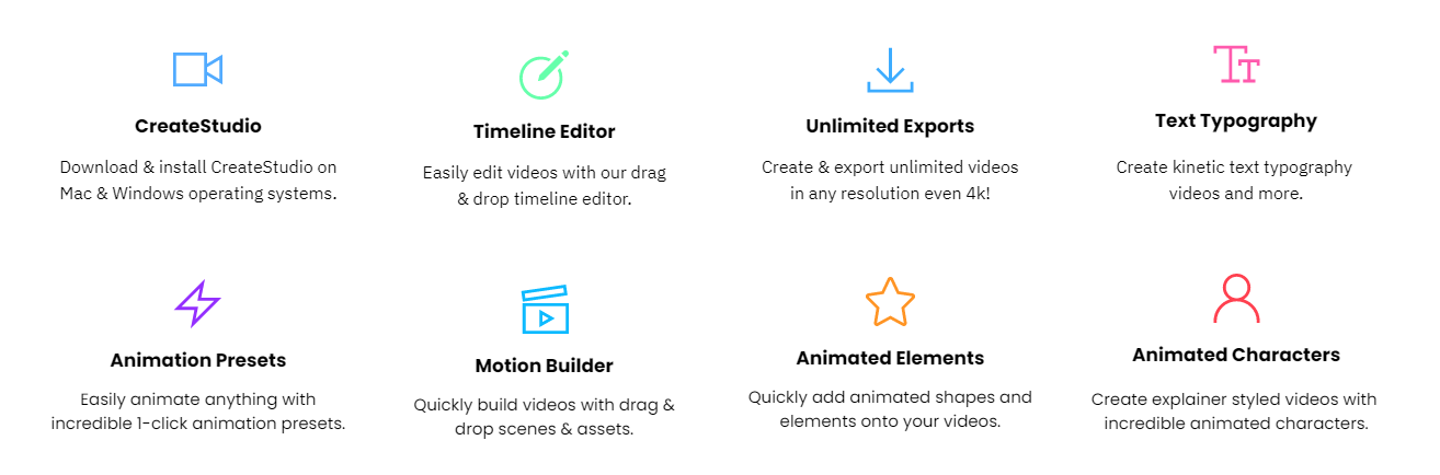Studio Builder provides free dragging animation characters and subtitles and many more.