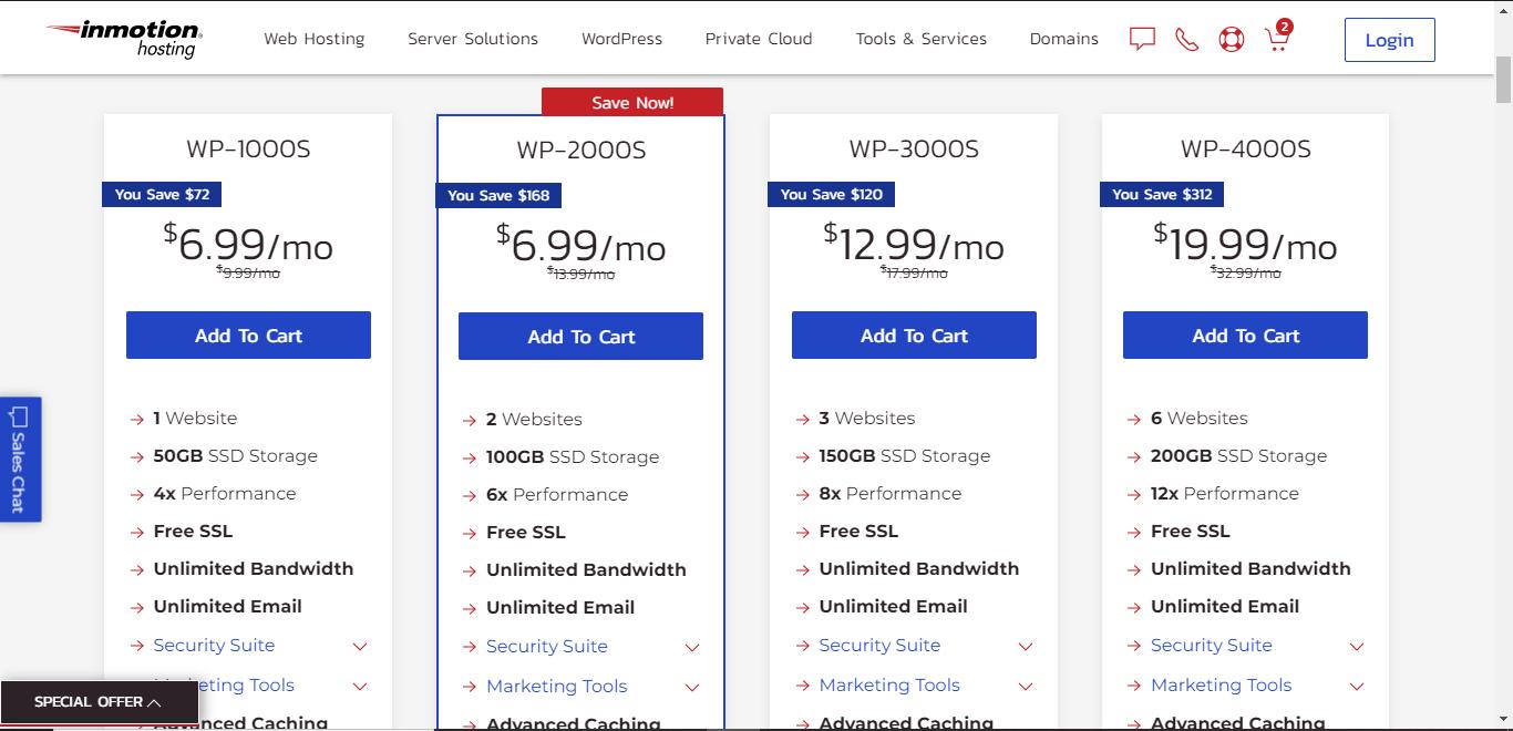 inmotion hosting wordpress hosting plans