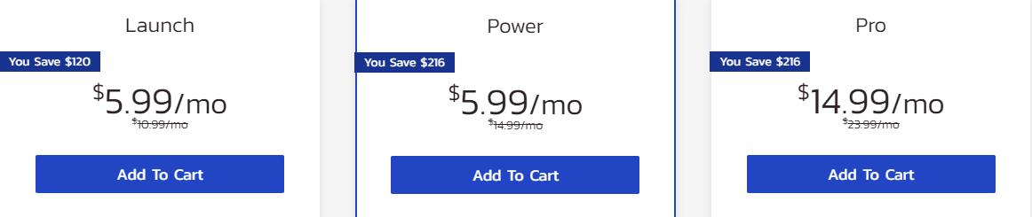 InMotion Hosting shared hosting plans pricing