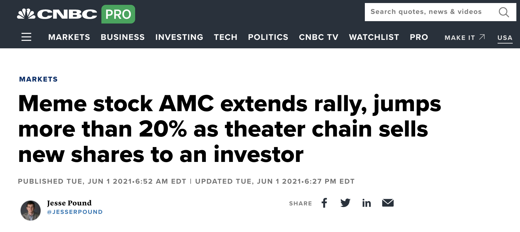 Meme Stock AMC rallies 20%