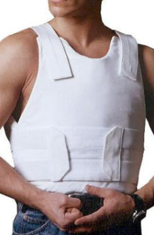Man wearing ISRAEL CATALOG LEVEL IIIA SP1 CONCEALED STAB PROOF AND BULLETPROOF VEST in white