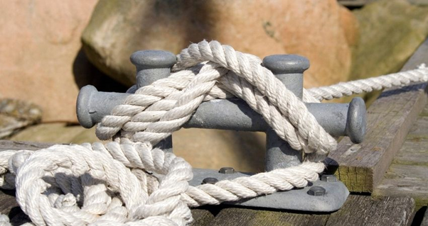 connecting elements, nylon line  and bow cleats, dock cleats