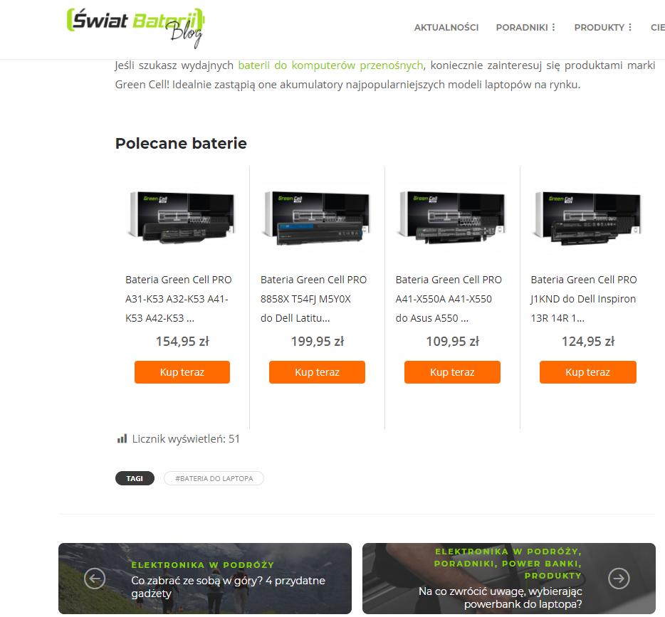 screen ze strony Świat Baterii - karuzela produktowa