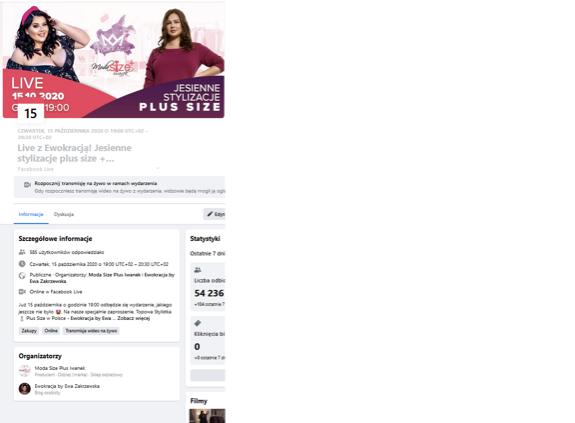 facebook live - wydarzenie promujące