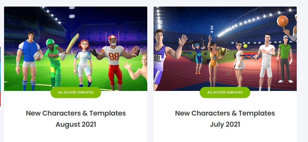 Hundreds pre-made templates, access to all assets, all 3d, 2d characters and templates as well as 30+ new templates & new characters - assets. And the best part is that Createstudio is always adding adding to the library.