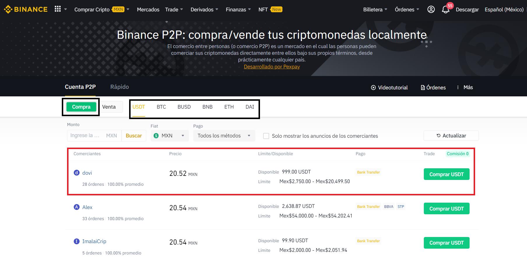 Binance P2P market for Mexico.