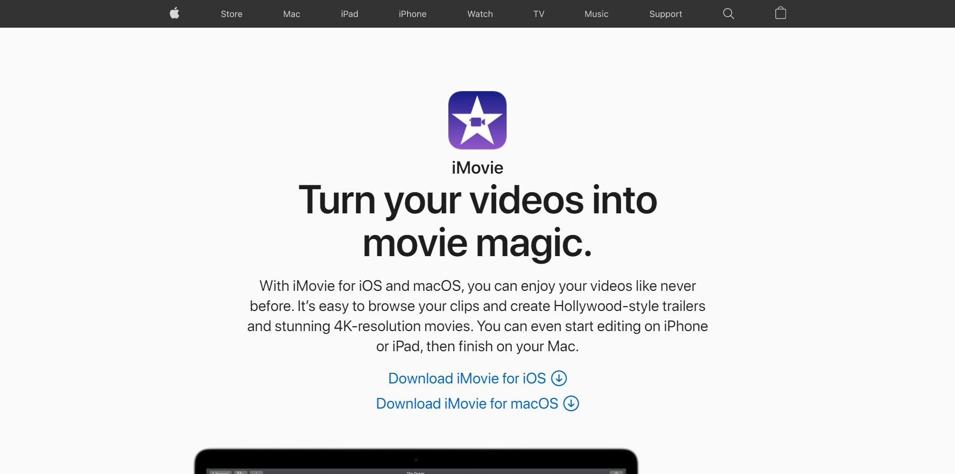 iMovie - Main Page