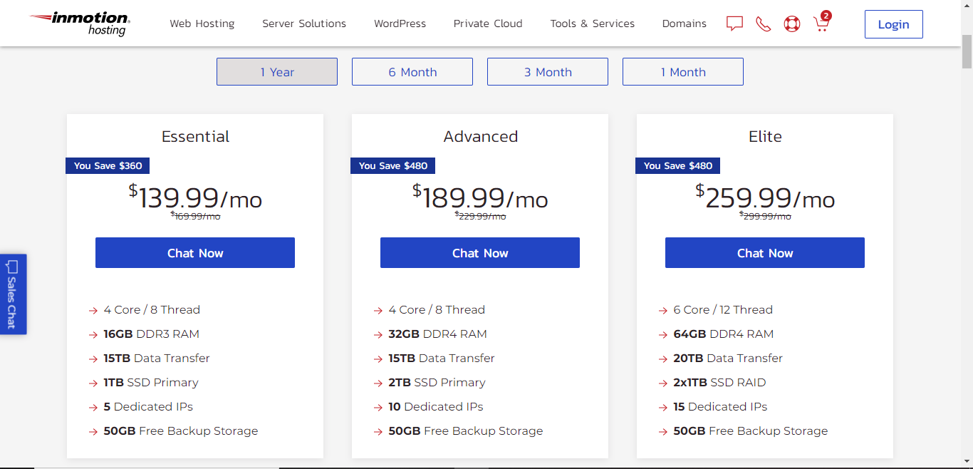 inmotion hosting dedicated servers plans
