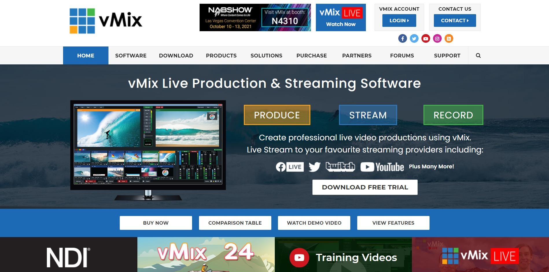 vMix main page