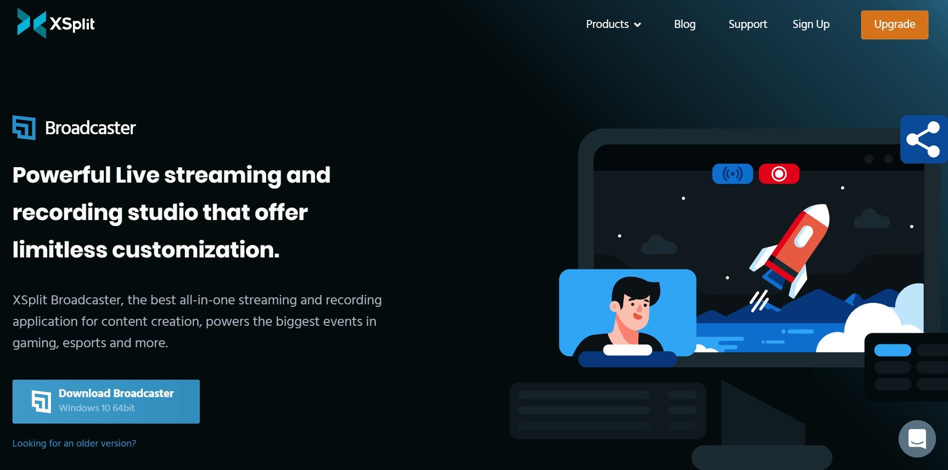 XSplit Broadcaster main page