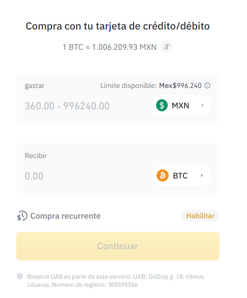 Buy Bitcoin (BTC) with Binance through Mexican credit or debit cards.