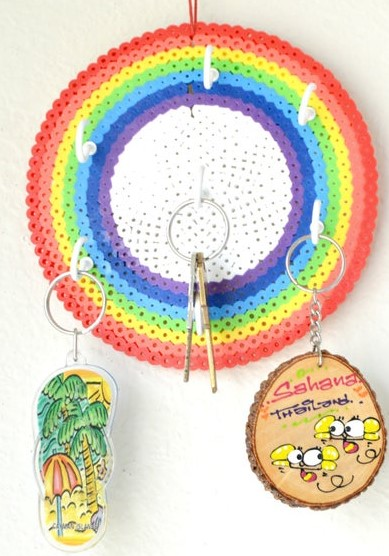 Rainbow Key holder a bead coasters made into a holder